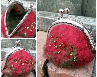 Red and green felted coin purse with beaded detail