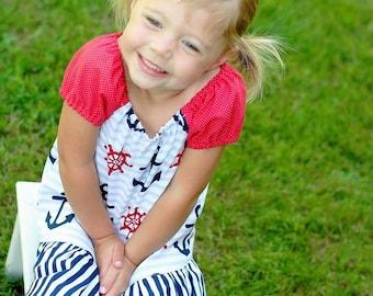 Girls Peasant Dress, Toddler Peasant Dress, Girl Dress, Anchor Toddler Dress, Little Girl Dress, Girls Nautical Dress, Little Girls Dress