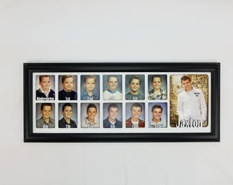 School Years Picture Frame - Personalized with Any Name -10 Color Options (Shown with Black Frame) - 7x20