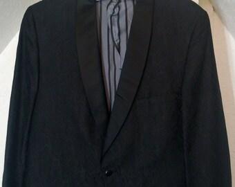 Vintage 1960's Satin Damask Tuxedo Jacket by Lord West, Union Amalgamated Made in USA
