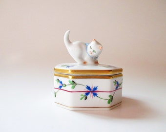 Herend Trinket Box Blue & White Porcelain Ring Box Figural Cat Box