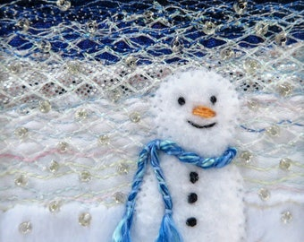 5.5 inch square fabric snowman art card - beaded embroidered handmade card - winter landscape nursery art - needlework art for framing