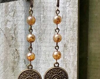 Amber Earrings, Bronze Earrings, Mandala Earrings, Rustic Earrings, Boho Earrings, Ethnic Earrings, Tribal Earrings, Earthy Earrings