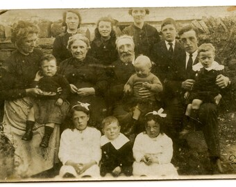 1900s Huge Family Real Photo Postcard Antique Vintage RPPC Children Men Women