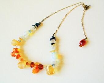 Rainbow gemstone necklace: Amazing bohemian 1980s agates and gemstones rainbow beaded necklace, tiger's eye, rose quartz