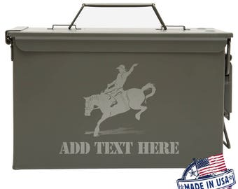 Bronco Riding Personalized Ammo Box Mens Cool Guy Gifts Father's Day Gift Ideas Personalized Grandpa Gift Groomsmen Hunter