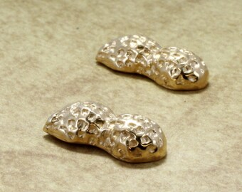 Gold Peanut Earrings, Peanut Earrings in 14kt gold, Unique southern gift for mom, peanut nickname,  Unique Gold Earrings gift for wife