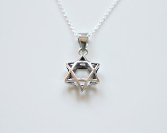 Star of David necklace, sterling silver star, silver magen david, simple judaica jewelry, david star, jewish jewelry, gift for her - Candice