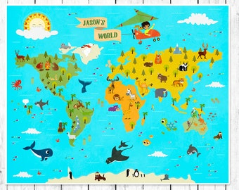 personalized kids world map nursery world map childrens world map maps for kids world map for