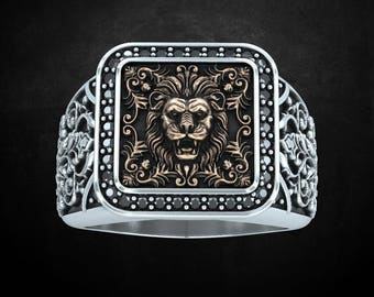 Lion ring, royal, king, stones, LARP, yellow gold, white gold, sterling silver