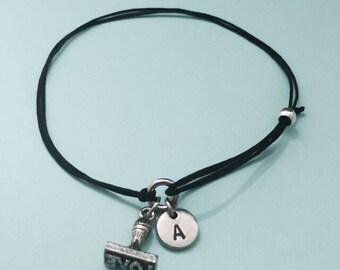 Love stamp cord bracelet, love stamp charm bracelet, adjustable bracelet, charm bracelet, personalized bracelet, initial, monogram