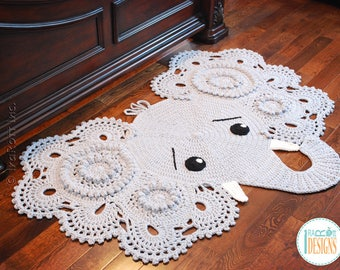 CROCHET PATTERN Josefina and Jeffery Elephant Rug Nursery Mat Carpet PDF Crochet Pattern with Instant Download