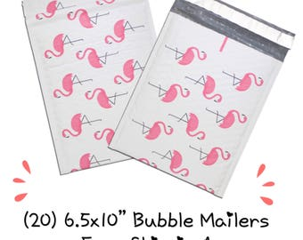 """FREE SHIPPING! (20) 6.5x10"""" Pink Flamingo Designer Bubble Mailers"""