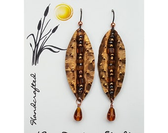 Dangle Drop Hand Hammered Copper Leaf Shaped Earring with Wired Glass Beads and Amber Glass Drop on Hypoallergenic Niobium Ear Wires