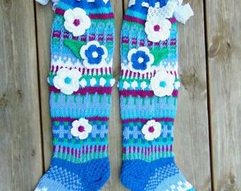 Blue hand knit knee socks. Flower knee socks. Blue, purple, green woman, girl socks. Leg warmers. Hand knit knee warmers.