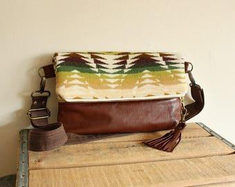 Oregon Wool Foldover Clutch Purse with upcycled leather trim Crossbody purse Tassel trim multicolor camel --Ready--