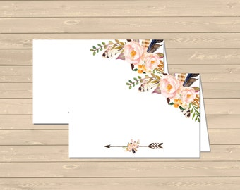 Printable Boho Food Tent Cards Place Cards, Floral DIY Buffet Place Cards, Boho Food Table Signs, Arrow, Feathers, Instant Download 027-W