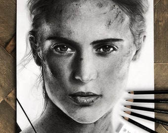 Alicia Vikander Portrait - ORIGINAL Graphite Pencil Drawing - Tomb Raider - Lara Croft - Alicia Vikander portrait drawing - Graphite art