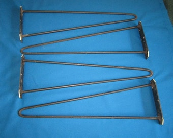 Vintage Mid Century Modern Set of 4 Salvaged Black Iron 22 Inch Hairpin Legs for Furniture Assemblage