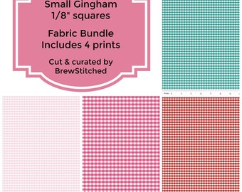 "Gingham Fabric Bundle - Gingham Fat Quarter Bundle - Fabric by the Yard - Small 1/8"" Gingham - Riley Blake Designs - Includes 4 Prints"