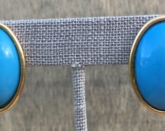 Vintage Blue Egg In Gold Post-back Earrings