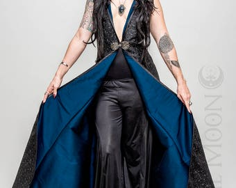 """NEW: The """"Isis"""" Metallic Black """"Abstract Triangles"""" REVERSIBLE to Blue Opera Vest Hooded Long Dress by Opal Moon Designs (Size S-XL)"""