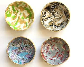 Marbled Ring Dish Set of 4 - Surprise Box - Jewelry Holder - Polymer Clay Dish- Bridesmaid Gift - Hostess Gift - Housewarming Gift