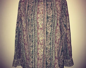 Vintage 80's Paisley Cordoroy Shirt / size XS / By Express