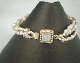 3-Strand Bracelet with Jeweled Clasp