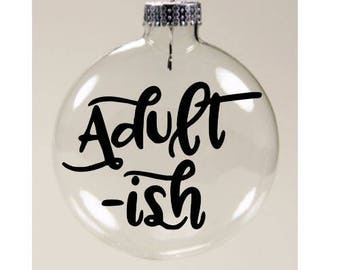 Adult Adultish Funny Christmas Ornament Glass Disc Holiday Black Friday Jenuine Crafts