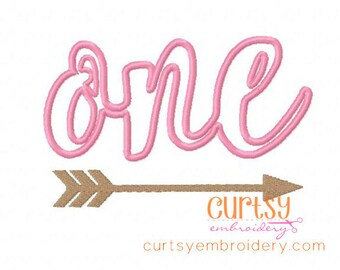 Birthday Embroidery Design, First Birthday Embroidery Design, 1st Birthday Applique Design, ONE Embroidery, ONE Applique, Arrow Birthday