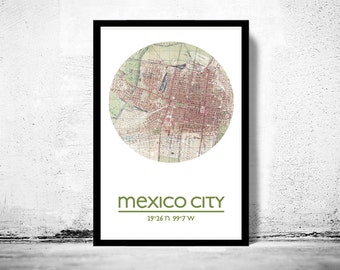 MEXICO CITY - city poster - city map poster print