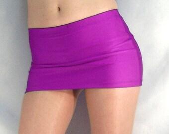 Violet shiny spandex micro mini skirt