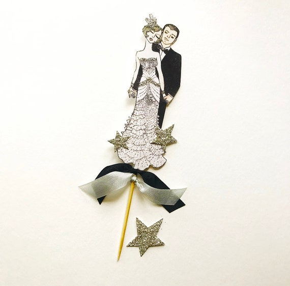 Great Gatsby Wedding Cake Topper Bride and Groom, Art Deco Wedding, Sterling Silver Stars