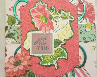 """JUST FOR YOU Handmade Card 5""""x7"""" - general occasion card with envelope - Anna Griffin Style - Free Shipping"""