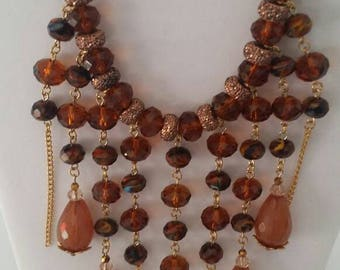 Amber Chandelier Necklace, Women's Necklace, Jewelry, Statement Necklace, Handmade Jewelry