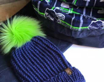 Seahawks Inspired First Frost Fitted/Slouchy Folded Brim Beanie Navy Blue Faux Fur Pom Acrylic Bulky Yarn Handmade Skiing Winter Snow Hat