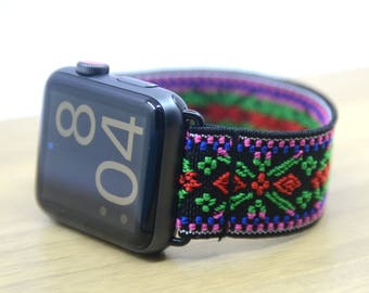 Tefeca Green Embroidery Ethnic Pattern Stretch Elastic Apple Watch Band 38mm 42mm - EGEE
