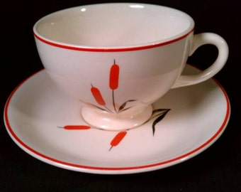Set of 4 Cattail Cups & Saucers, Sears Roebuck China, red black, midcentury modern, 1950s fifties 50s, 1960s sixties 60s, TheRetroLife
