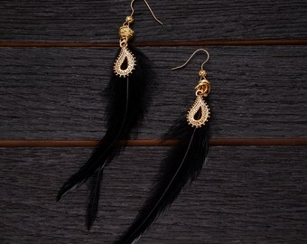 Black Feather with Gold Teardrop Earrings