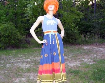 OOAK Batik Sundress Blue Yellow Orange Gypsy Boho Midi Elephant Hippie Halter Dress Music Festival Tie Dye Cruise Resort Sundress M-L