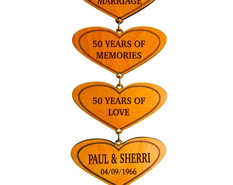 50 Years Of Marriage Golden Anniversary Gift - 50th Anniversary Personalized Gifts for Couple - Gift for Parents from Daughter or Son