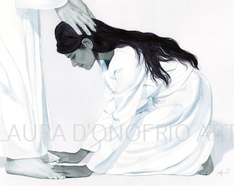 Oh Lord, My God- Watercolor of Indian Woman and Christ, Giclee print