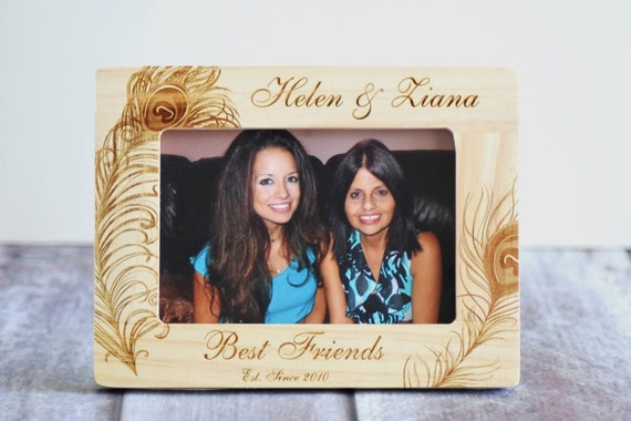 Best Friends Frame- Wood Burned Picture Frame- Personalized- Rustic ...