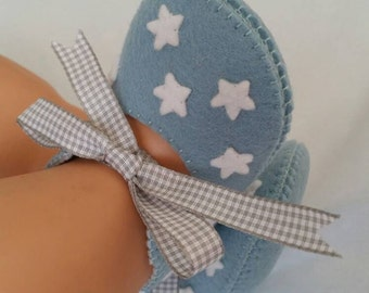 Limited Edition! Blue/grey with white stars wool felt shoes