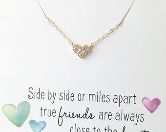Collier coeur diamant, or coeur collier, meilleur ami collier, cadeau d'un ami, longue Distance entre amis, cadeau d'anniversaire pour elle, petit coeur