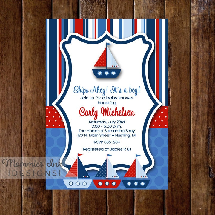 Baby Shower Invitation Ships Ahoy Baby Shower Sailboat