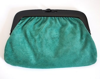 Vintage Green Suede Clutch, Vintage Bag Made in Italy