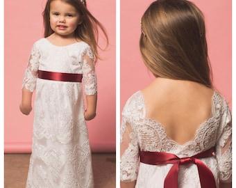 Boho Flower Girl Dress, Bell Sleeve Flower Girl Dress, Vintage Lace Flower Girl Dress, boho lace dress, boho wedding dress, lace flower girl