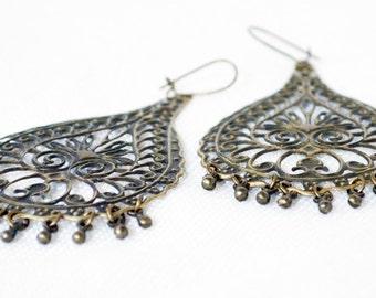 Boho Earrings Bohemian Earrings Statement Earrings Antiqued Brass Earrings Brass Dangle Earrings Tribal Earrings Drop Earrings Gift for Her